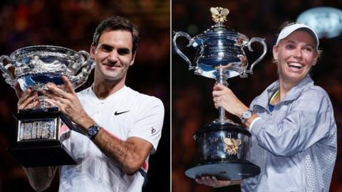 Roger Federer and Caroline Wozniacki