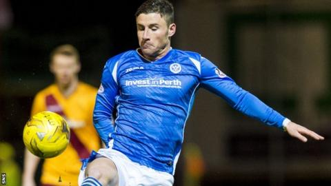 Michael O'Halloran attempts to control the ball for St Johnstone