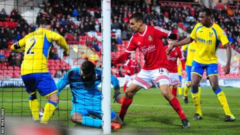 Kayden Jackson scores Wrexham's second against Kidderminster Harriers