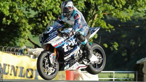 Michael Dunlop takes to the air during this week's practice for the Isle of Man TT