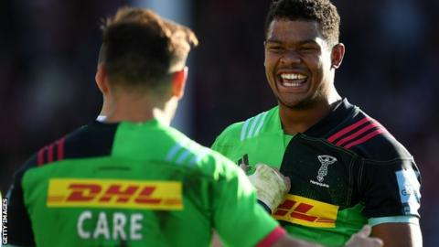 Nathan Earle celebrates a try for Harlequins