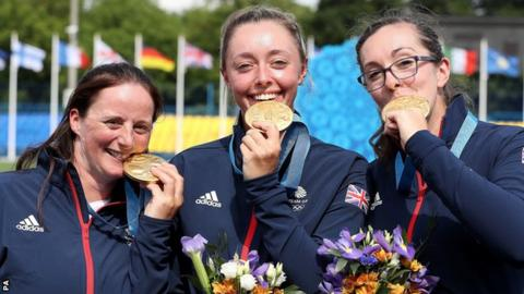 Naomi Folkard (left), Bryony Pitman (centre) and Sarah Bettles took gold in Minsk