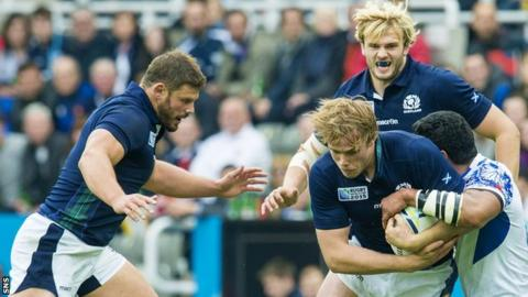 Scotland players Ross Ford, Jonny Gray and Richie Gray in action against Samoa