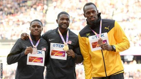 Christian Coleman, Justin Gatlin and Usain Bolt