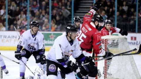 Blair Riley celebrates after scoring for the Belfast Giants in Saturday's game