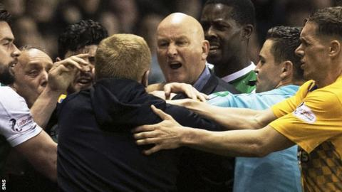 Neil Lennon and Jim Duffy confront each other towards the end of their 0-0 draw