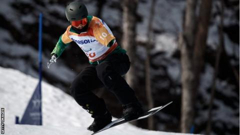 Sean Pollard in action during the men's snowboard cross run at the Pyeongchang Winter Paralympics