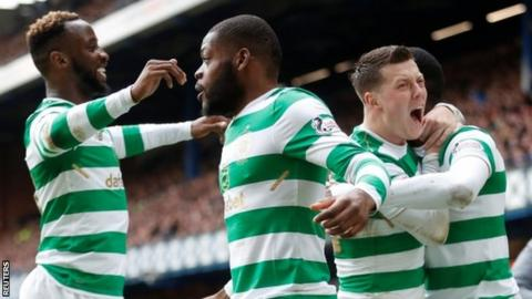 Celtic celebrate their third goal for Odsonne Edouard (second left)