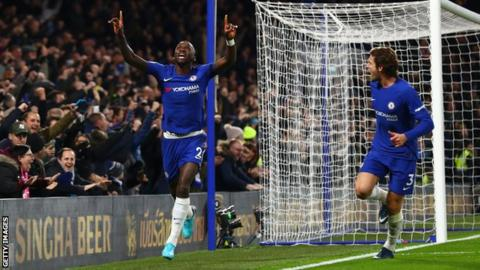 Chelsea defender Antonio Rudiger celebrates scoring his first Premier League goal against Swansea City