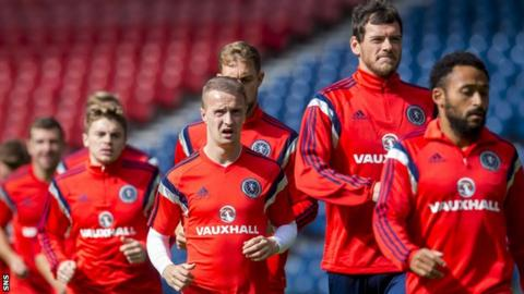The Scotland players train at Hampden on Sunday