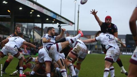 Bordeaux-Begles scrum-half Jules Gimbert clears to touch