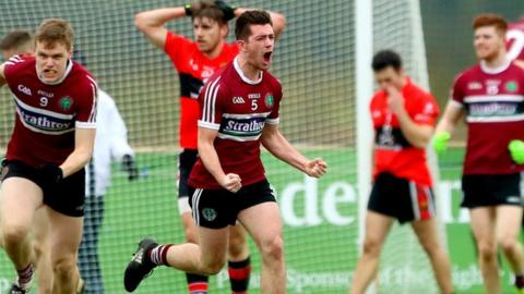 St Mary's players celebrate after their shock Sigerson Cup semi-final win over UCC on Friday