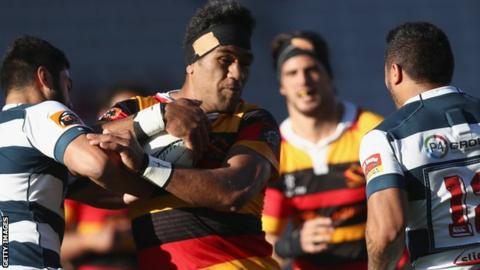 Brian Alainu'uese carries the ball for Waikato against Auckland in the Mitre Cup last month