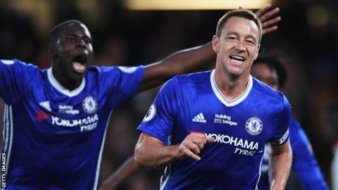 John Terry celebrates scoring for Chelsea