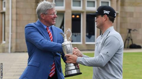 Zach Johnson returns the Claret Jug to the R&A