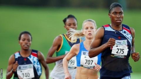 Caster Semenya running the 5,000m at the South African National Championships