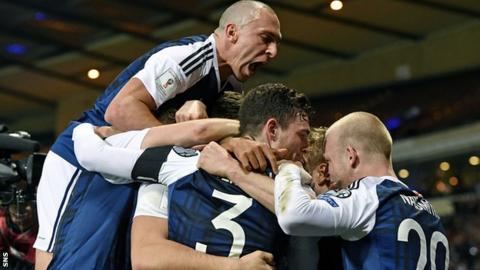The Scotland players were jubilant after Chris Martin's late winner