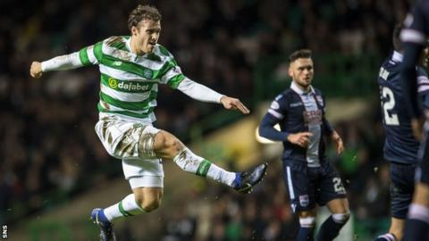 Erik Sviatchenko scores for Celtic against Ross County on Wednesday