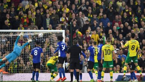 Mario Vrancic scores Norwich's equaliser against Norwich