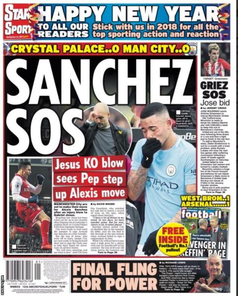 The Daily Star says Guardiola might look to Arsenal's Alexis Sanchez after the injury to Gabriel Jesus