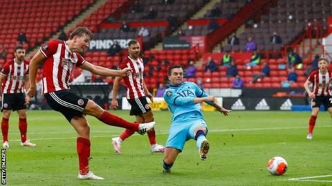 Sheffield United's Sander Berge scores against Tottenham