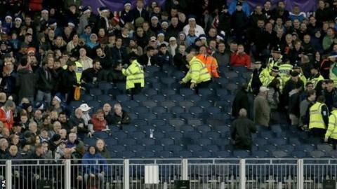 Spectators had to evacuate the north east terrace