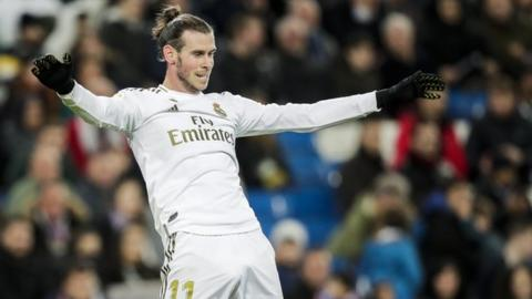 Gareth Bale celebrates a Real Madrid goal