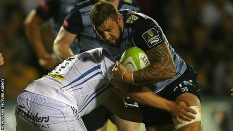 Josh Turnbull in action for Cardiff Blues against Exeter