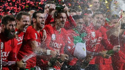 Wales players celebrate qualifying for Euro 2016 after beating Andorra in October 2015