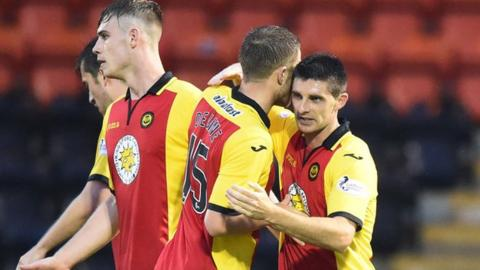 Partick Thistle's Kris Doolan (right) celebrates scoring the opening goal