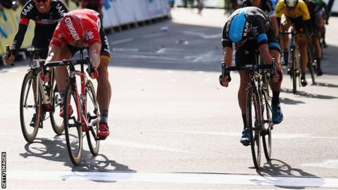 Andre Greipel won stage seven of the Tour of Britain in a photo finish