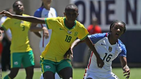 South Africa women in action against USA in a friendly in July