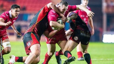 Ken Owens played his first game for Scarlets at number eight against Dragons on 5 January