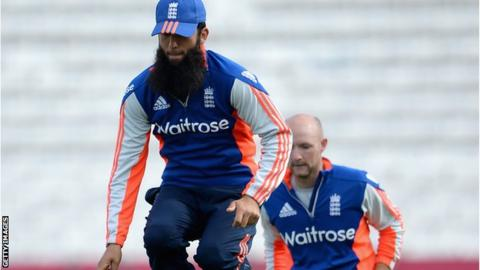 Moeen Ali and Adam Lyth in training