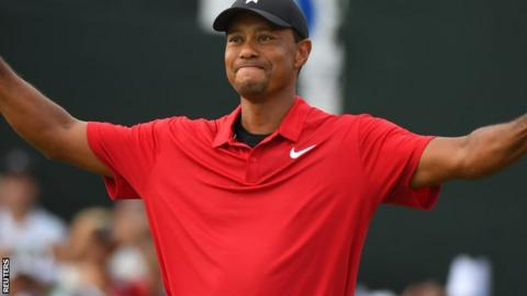 Tiger Woods celebrates. Tiger Woods' previous tournament win was the WGC-Bridgestone Invitational in August 2013
