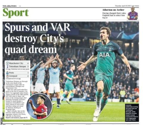 Thursday's Times back page