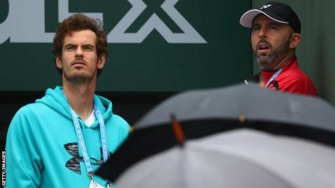 Andy Murray and coach Jamie Delgado at the French Open