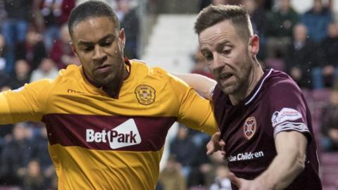 Motherwell's Charles Dunne and Hearts' Steven MacLean