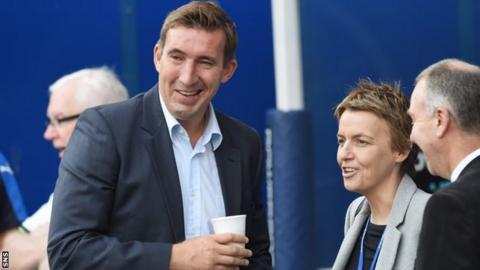 Hibernian head coach Alan Stubbs and chief executive Leeann Dempster