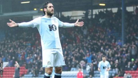 Danny graham celebrates scoring for Blackburn v Sheff Wed