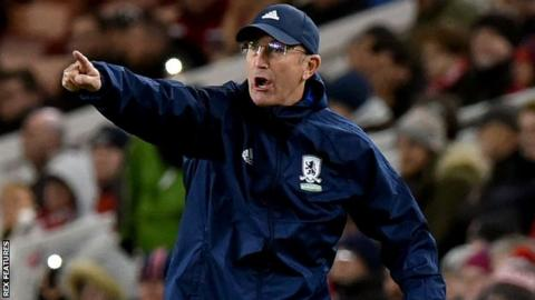 Middlesbrough manager Tony Pulis gives orders from the touchline