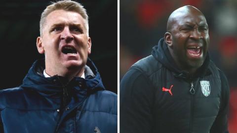Aston Villa head coach Dean Smith and West Bromwich Albion counterpart Darren Moore