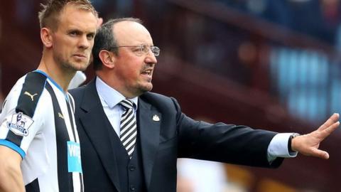 Newcastle's Siem de Jong being substitutes on by Rafael Benitez