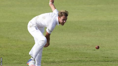 Stuart Broad sends down a delivery