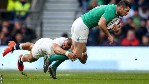 England's Jonathan Joseph tackles Rob Kearney in the Six Nations clash at Twickenham last month