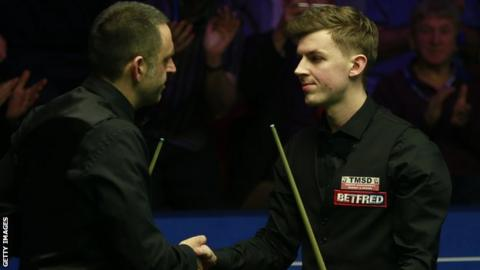 James Cahill's win over Ronnie O'Sullivan at The Crucible was his first in four meetings between the pair.