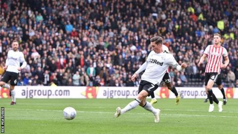 Harry Wilson slots home Derby County's equaliser