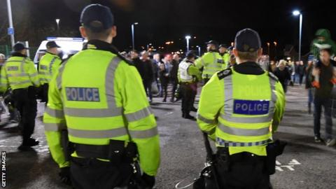 Police in attendance at a football match