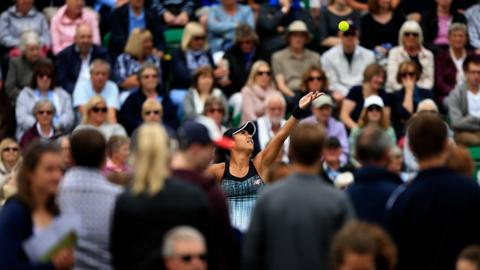 NOTTINGHAM, ENGLAND - JUNE 12: Heather Watson of Great Britain serves during her first round match against Danielle Lao of The USA on Day Four of the Nature Valley Open at Nottingham Tennis Centre on June 12, 2018 in Nottingham, United Kingdom. (Photo by Ben Hoskins/Getty Images for LTA)