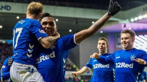 Alfredo Morelos celebrates scoring for Rangers against Livingston